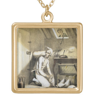 Avarice in the Kitchen, from a series of prints de Gold Plated Necklace