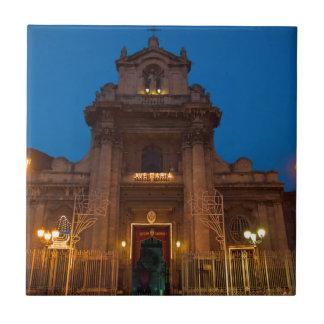 Ave Maria Church in Catania Small Square Tile