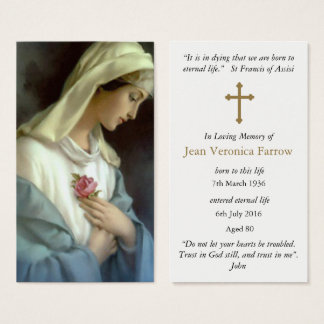 Ave Maria Funeral Sympathy Prayer Card