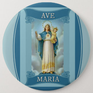AVE MARIA VIRGIN MARY CHRIST CHILD Rosary 6 Cm Round Badge