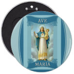 AVE MARIA VIRGIN MARY CHRIST CHILD Rosary 6 Cm Round Badge