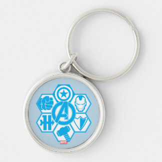 Avengers Assemble Icon Badge Silver-Colored Round Key Ring