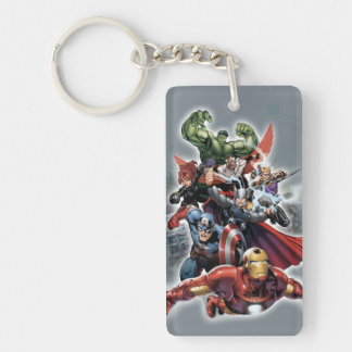 Avengers Attack Graphic Double-Sided Rectangular Acrylic Key Ring