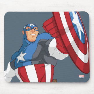 Avengers Cartoon Captain America Character Pose Mouse Pad