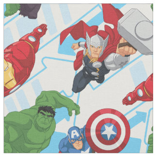 Avengers Character Action Kids Pattern Fabric