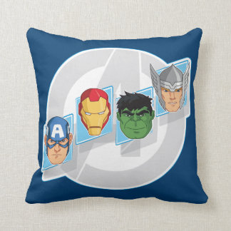 Avengers Character Faces Over Logo Cushion