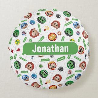 Avengers Emoji Characters Text Pattern Round Cushion