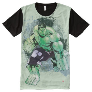 Avengers Hulk Watercolor Graphic All-Over Print T-Shirt