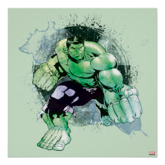 Avengers Hulk Watercolor Graphic Poster