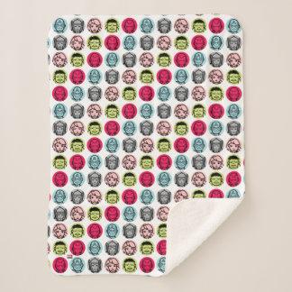 Avengers Stylized Line Art Icons Pattern Sherpa Blanket