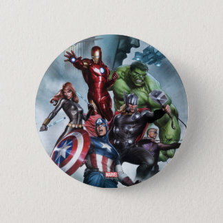 Avengers Versus Loki Drawing 6 Cm Round Badge