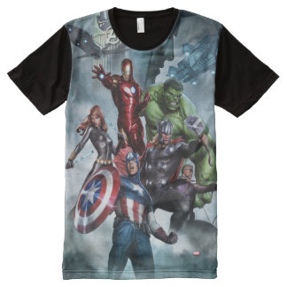 Avengers Versus Loki Drawing All-Over Print T-Shirt