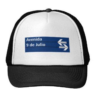 Avenida 9 de Julio, Buenos Aires Street Sign Mesh Hats