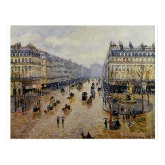 Avenue de l'Opera Rain Effect by Camille Pissarro Postcard