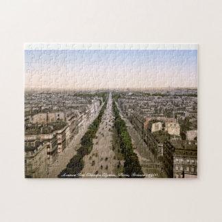 Avenue Des Champs Elysses, Paris, France c1900 Jigsaw Puzzle