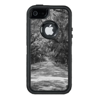 Avenue Of Oaks Grayscale OtterBox Defender iPhone Case