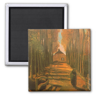 Avenue of Poplars in Autumn by Vincent van Gogh Square Magnet