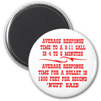 Average response time to a 911 call is 4-6 min 6 cm round magnet