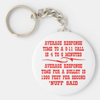 Average response time to a 911 call is 4-6 min key ring