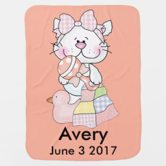 Avery's Personalized Kitty Baby Blanket
