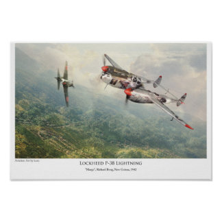 "aviation Art Poster ""Lockheed P-38 Lightning """
