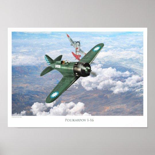 "Aviation Art Poster ""Polikarpov I-16 """