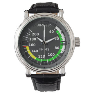 Aviation Theme Black Leather Watch