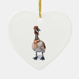 Aviator Goose Ceramic Ornament