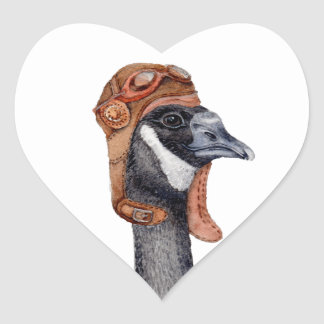 Aviator Goose Heart Sticker