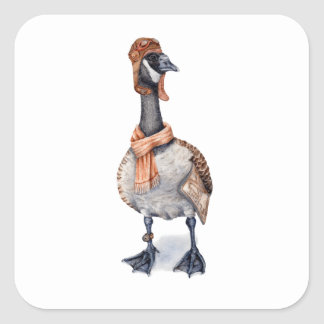 Aviator Goose Square Sticker