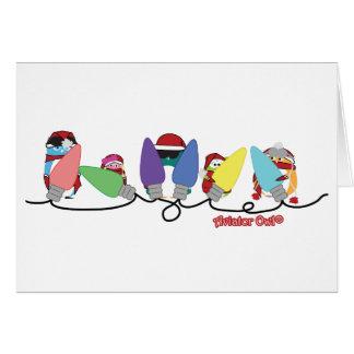 Aviator Owls Christmas Lights Card