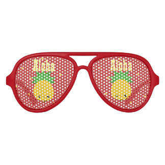 Aviator Red Party Shades Aloha Pineapple