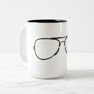 Aviator sunglasses mug- black and white Two-Tone coffee mug