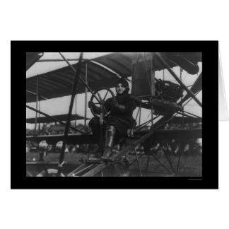 Aviatrix Blanche Scott in an Airplane 1910 Card