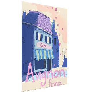 Avignon France cartoon travel poster Canvas Print