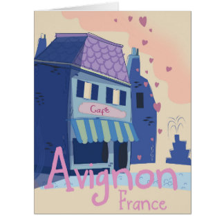 Avignon France cartoon travel poster Card