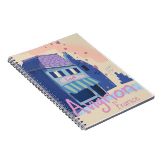 Avignon France cartoon travel poster Notebook