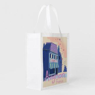 Avignon France cartoon travel poster Reusable Grocery Bag