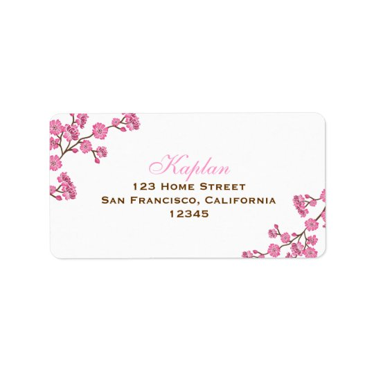 Avital Brown Pink Flowers Address Label