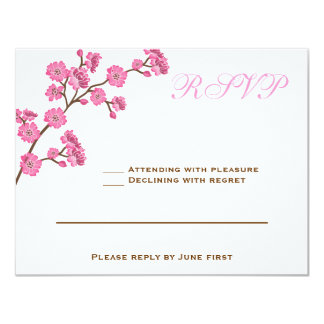 Avital Chocolate Brown Pink RSVP Card