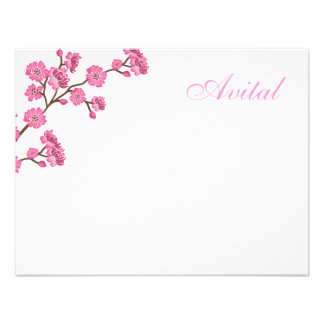 Avital Pink Blossoms Bat Mitzvah Thank You Invitation