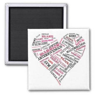 AVM Awareness Word Soup Heart Magnet