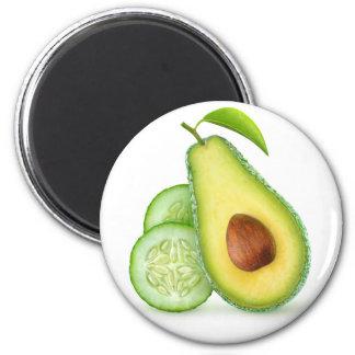 Avocado and cucumber 6 cm round magnet