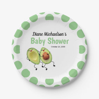 Avocado Couple Baby Shower Paper Plate