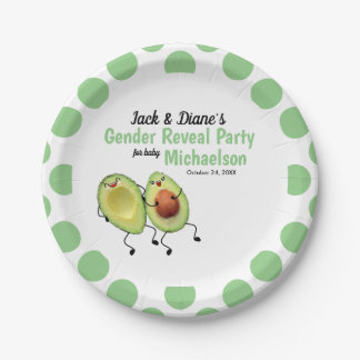 Avocado Couple Gender Reveal Party Paper Plate