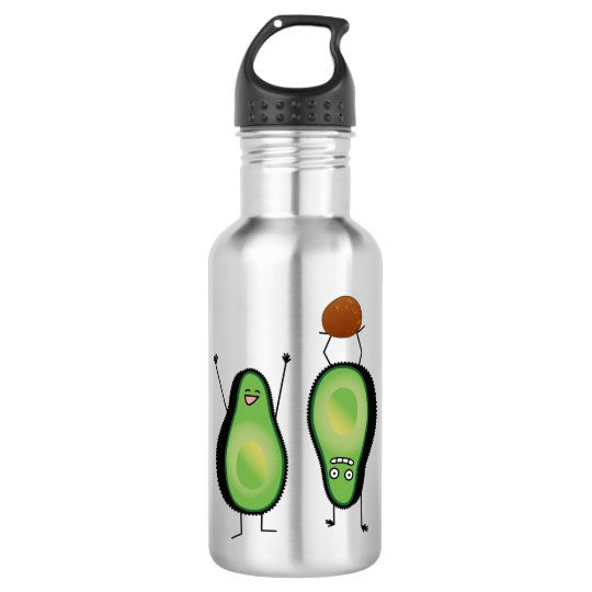 Avocado funny cheering handstand green pit 532 ml water bottle