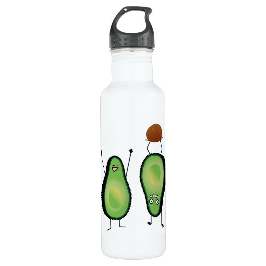 Avocado funny cheering handstand green pit 710 ml water bottle