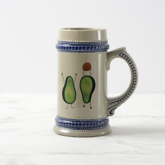 Avocado funny cheering handstand green pit beer stein