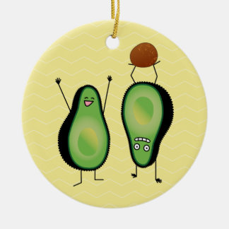 Avocado funny cheering handstand green pit ceramic ornament