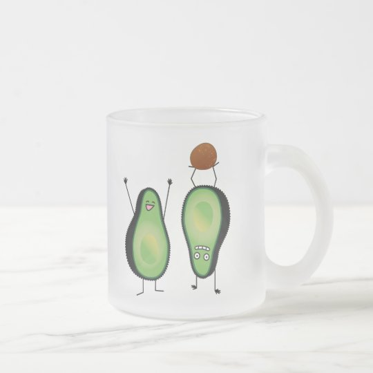 Avocado funny cheering handstand green pit frosted glass coffee mug